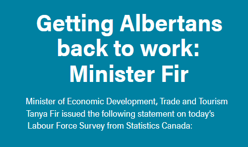 Getting Albertans back to work: Minister Fir Main Photo